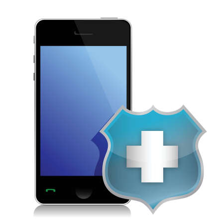 Phone protected by a shield of security illustration design Stock Vector - 15559784