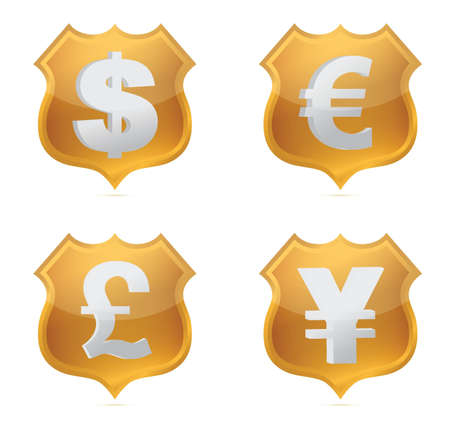 Shield currency signs of protection illustration design