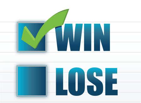 Win vs lose with checkmark illustration design