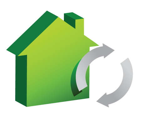 house and recycle sign illustration design over white Vector