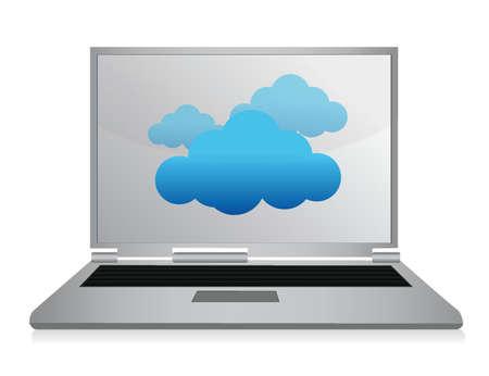 Cloud computing laptop illustration design over white Stock Vector - 15565809