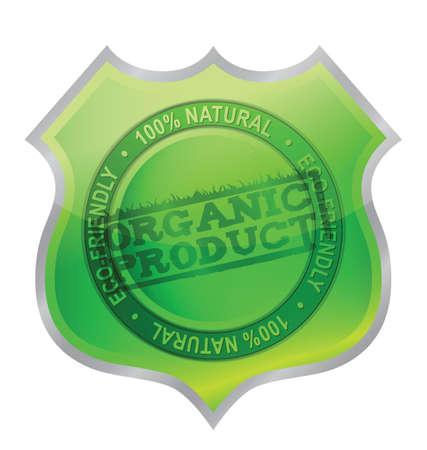 guaranty: Organic product shield guaranty illustration design over white Illustration