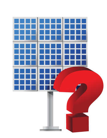 solar battery: Question mark over a solar panel illustration design