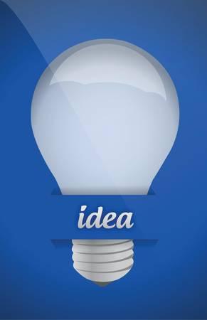 clip art draw: lightbulb idea design over blue background illustration