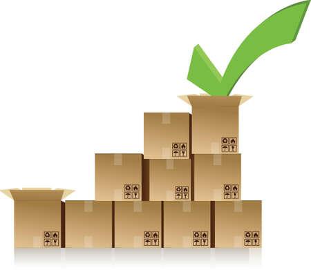 checkmark over a box graph illustration design