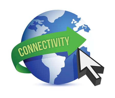 connectivity globe cursor illustration design over white Çizim