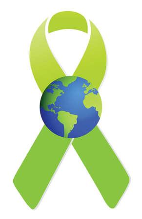 activism: la cinta verde y dise�o ilustraci�n globo sobre blanco