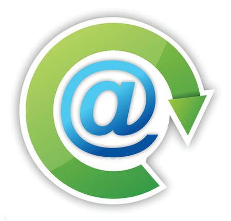 email icon with green arrow sticker over white Stock Vector - 15596583
