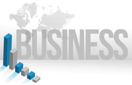 Blue Business map chart background illustration design Stock Vector - 15596582