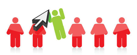 Row of people and one selected by a cursor - illustration Ilustração