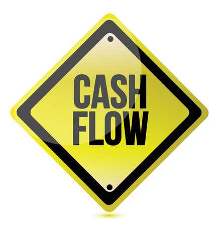 cash flow yellow sign illustration design over white Stock Vector - 15596574