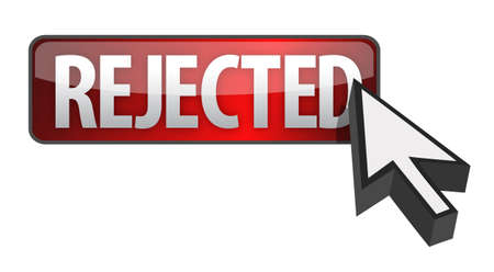 rejected: rejected button and cursor illustration design over white Stock Photo