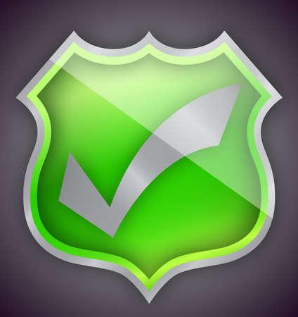 Check mark green shield illustration design over white Stock Illustration - 15606469