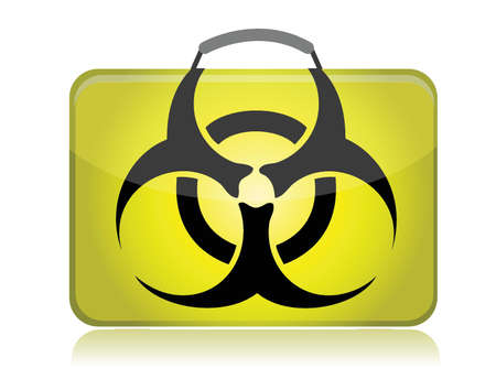 dangerous biohazard suitcase yellow illustration design over white Stock Vector - 15632515