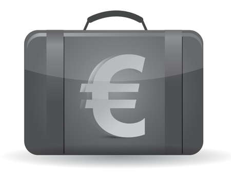 Suitcase with euro sign in front illustration design