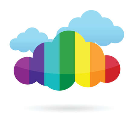 colorful cloud transferring information illustration design over white Stock Vector - 15632514
