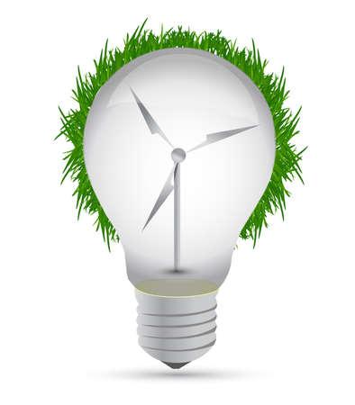 energy work: Windmill eco lightbulb illustration design over white