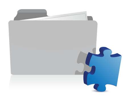 Puzzelstukje Files illustratie ontwerp op wit Stock Illustratie