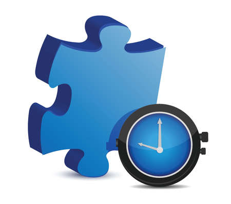 Puzzle piece and watch over a white background