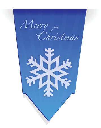 Merry christmas snowflake banner illustration design over white Stock Vector - 15629629