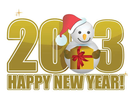 2013 Happy new year snowman text illustration Vector