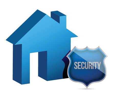 guard house: House and security shield illustration design over white