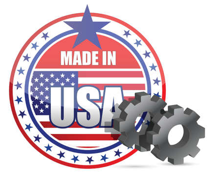 Made in USA and gears stamp illustration design