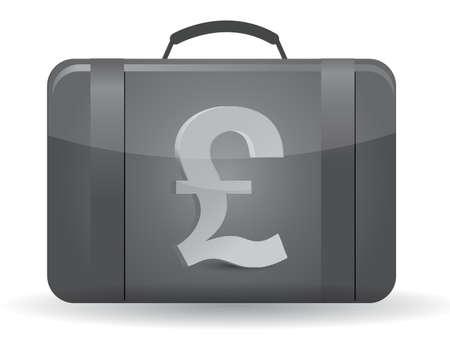 ポンド通貨のシンボル スーツケースのイラスト デザインは白で
