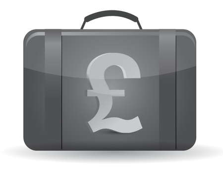 british pound: Pound currency symbol suitcase illustration design over white