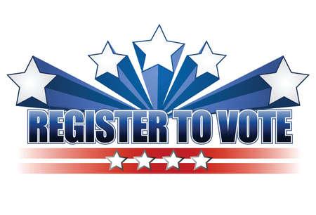 voter: Inscrivez-vous pour voter design illustration sur fond blanc