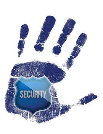 blue shield: handprint with security blue shield illustration design