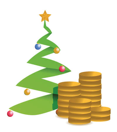 currency converter: christmas tree and golden coins illustration design