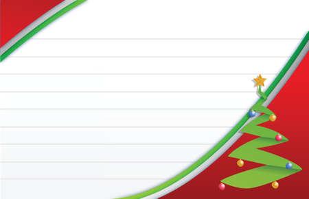 christmas tree and paper card illustration design Illusztráció