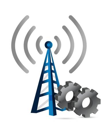 internet  broadband: industrial gears over a wifi tower illustration design