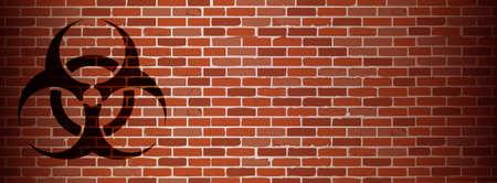 row houses: Biohazard graffiti on brick wall illustration design
