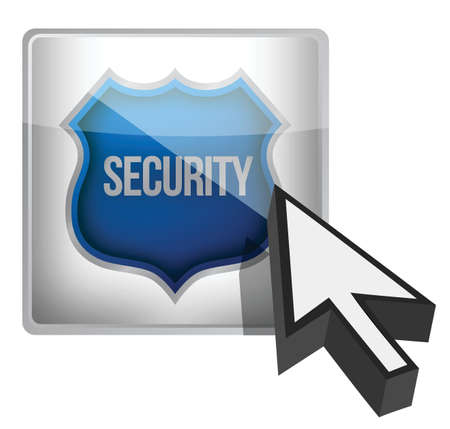 Security shield button illustration design over white Vector