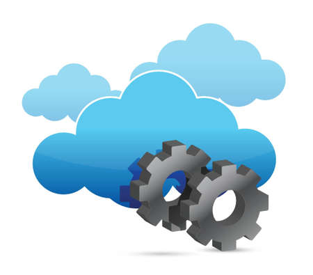 centralized: cloud computing and industrial gears over white