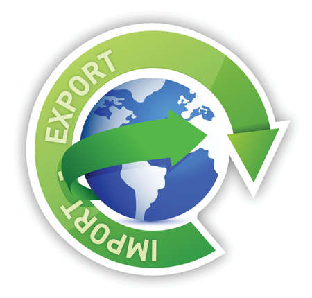 commerce communication: Export and import globe cycle illustration design