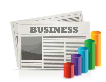 白でビジネス新聞およびグラフ イラスト デザイン