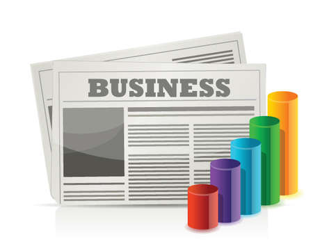 chronicle: Business newspaper and graph illustration design over white