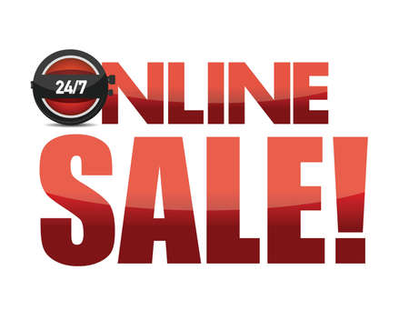 drugstore: Online sale text illustration design over white background