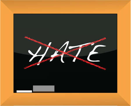 hate: blackboard with the word hate cross out illustration Illustration