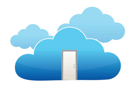 door entrance to cloud computing illustration design concept Vector