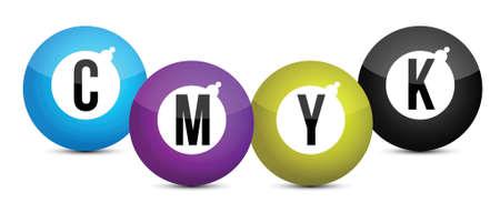 offset: cmyk color balls over white background illustration design