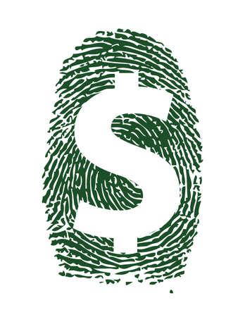 finger proof: dollar sign fingerprint illustration design over white background
