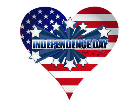 Independence day heart illustration over white background illustration