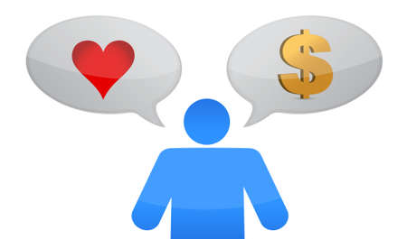 love vs money icon decision illustration design over white Stock Illustration - 15684930
