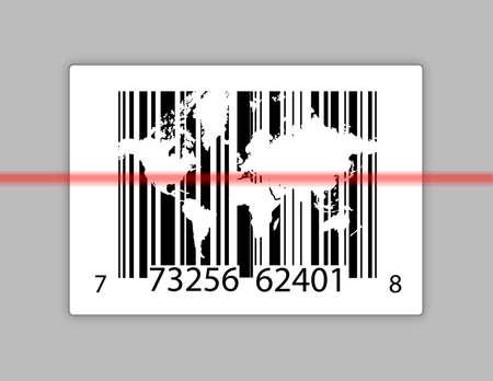barcode met wereldkaart over grijze achtergrond Stockfoto