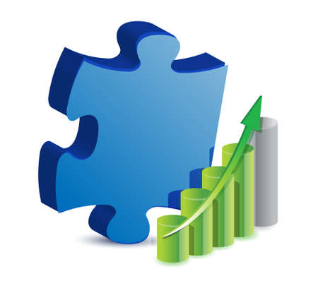 leading: Puzzle piece and business graph illustration design