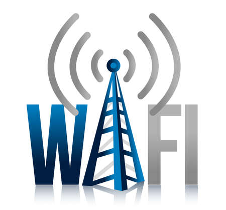 boardcast: Wi fi Tower illustration design sign over white Stock Photo